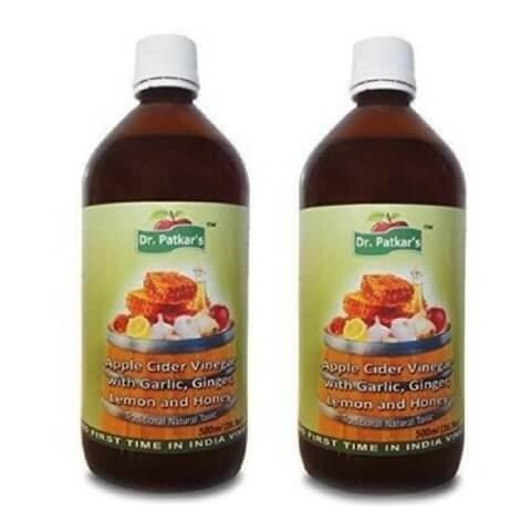 Upto 33% Off + Extra 10% Cashback on Apple Cider Vinegar | Dr. Patkar's Apple Cider Vinegar Pack of 2, 0.5 L Garlic, Ginger, Lemon and Honey By Healthkart @ Rs.1,900