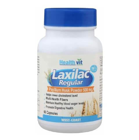 Healthvit Laxilac Regular Psyllium Husk Powder (500mg),  60 capsules