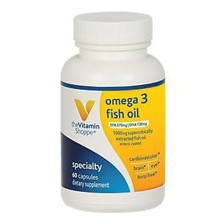 The Vitamin Shoppe Omega 3 Fish Oil 300 EPA/ 200 DHA,  60 softgels