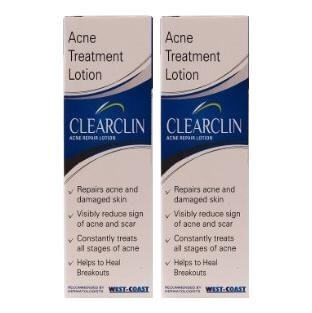 Healthvit Clearclin Acne Repair Lotion (Pack of 2),  60 ml  for Repairs Acne & Damaged Skin
