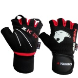 KOBO Weight Lifting Fitness Gym Gloves,  Black & Red  XL
