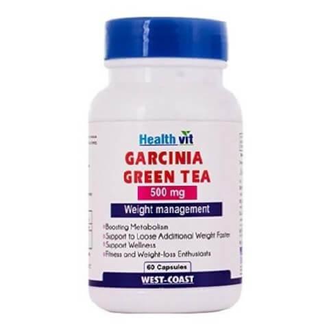 Healthvit Garcinia Green Tea (500 mg),  60 capsules  Unflavoured