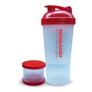 BigBang Nutrition Extra Compartment Shaker,  Transparent  600 ml