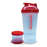 BigBang Nutrition Extra Compartment Shaker,  Transparent  600 Ml