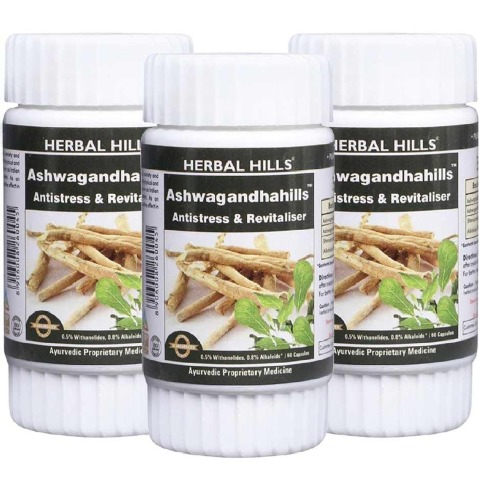 Herbal Hills Ashwagandha Hills,  60 capsules  - Pack of 3