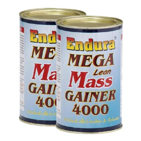 Endura Mega Lean Mass Gainer 4000 Pack of 2 Unflavoured 1.1 lb
