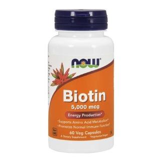 Now Biotin (5000 mcg),  Unflavoured  60 veggie capsule(s)