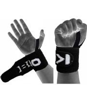 KOBO Gym Straps With Thumb Support (WTA-04),  Black & White  Free Size